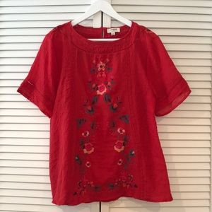 UMGEE Red Embroidered Top Size M